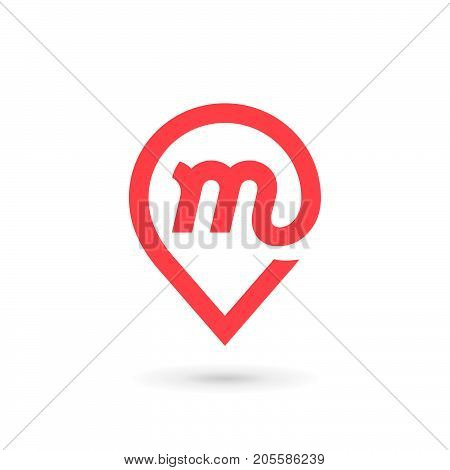 Letter M Geotag Logo Icon Design Template Elements
