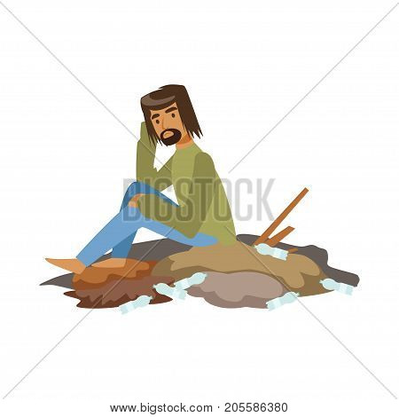 Homeless man begging in street, unemployment man needing help vector illustration isolated on a white background