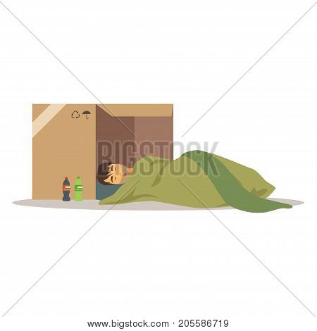 Homeless man character sleeping on the street in cardboard box, unemployment man needing help vector illustration isolated on a white background