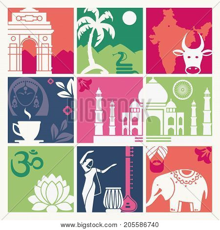 Squares with traditional symbols of India. Vector Illustration
