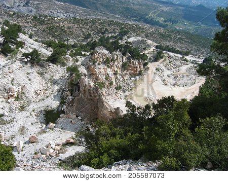 Penteli mountain at Athens of Greece Europe