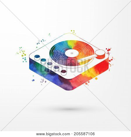 Vector illustration of isometric watercolorp vinyl player with a vinyl disk , rainbow paints. Old fashion vintage player.