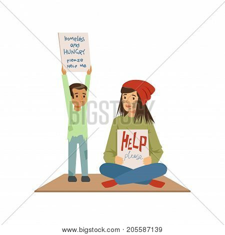 Homeless woman and boy begging in street asking for help, unemployment man needing help vector illustration isolated on a white background
