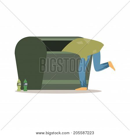 Young homeless man character looking for food in a garbage, unemployment man needing help vector illustration isolated on a white background
