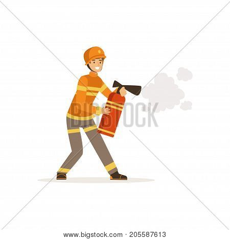 Fireman character in uniform and protective helmet spraying foam from a fire extinguisher, firefighter at work vector illustration isolated on a white background