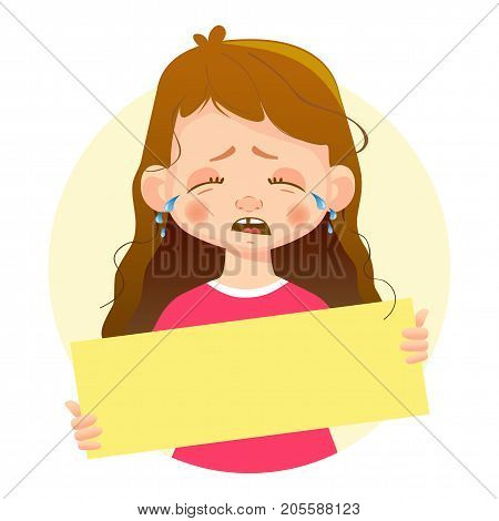 Crying Girl holding blank poster. Blank message vector illustration. Hands holding blank paper