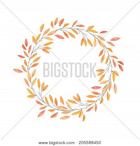Hand drawn watercolor illustration. Autumn Wreath. Fall leaves. Perfect for wedding invitations greeting cards blogs prints and more