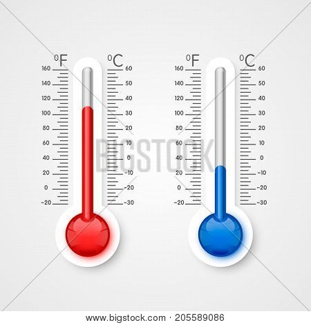 Thermometer of cold and heat, winter and summer temperature scale . Vector illustration
