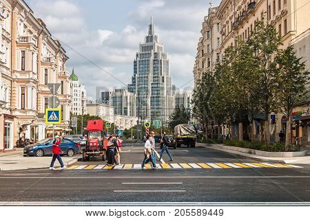 Moscow, Russia - September 10, 2017: the new architecture of Moscow, old and new houses on the streets