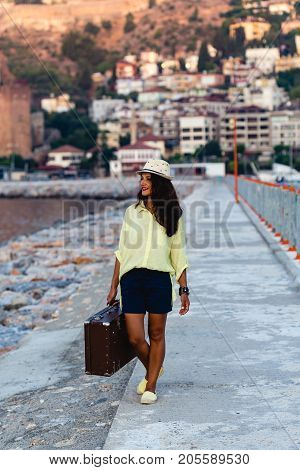 Traveller Woman With Vintage Suitcase