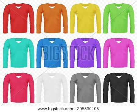 Set of bright realistic different colored male long sleeved t-shirts isolated