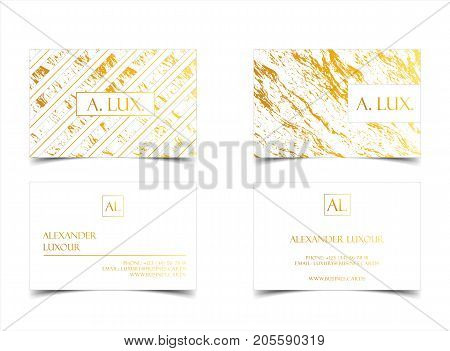 Elegant white luxury business cards with marble texture and gold detail vector template, banner or invitation with golden foil details. Branding and identity graphic design