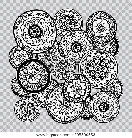 Black and white coloring. Floral tattoo artwork. Indian style. Doudle art floral composition. Zentangle floral ornament. Black line art on transparent background.