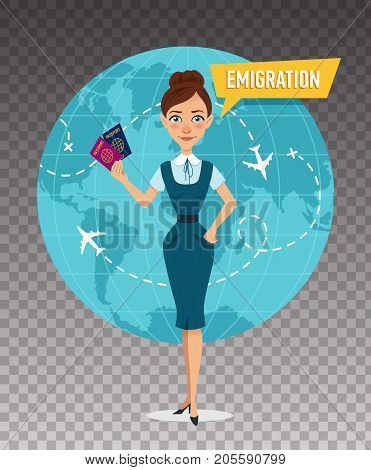 Woman is standing and holding passports in front of world map. Employee of company is engaged in emigration. Emigration concept. Vector illustration on transparent background.
