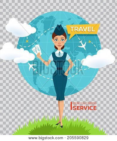 Online flight booking service. Buy tickets online. Advertising poster, banner. Stewardess keeps air tickets and offers to go on trip around world. Vector illustration on transparent background.