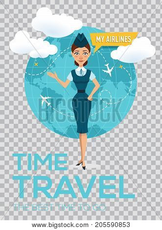 Travel around the world vector brochure on transparent background. Modern travel template of flyer, magazine, poster, book cover, banner. Stewardess shows his hand on globe and offers to go on trip.