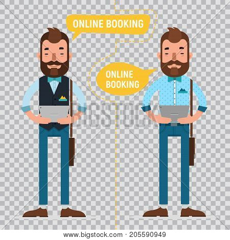 Online Booking. Man with tablet making online order, booking accommodation hostel, booking tickets for concert on tablet. Two characters on transparent background.