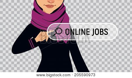 Muslim woman is writing ONLINE JOB in search bar on virtual screen. Woman searches job. Online recruitment service. Vector illustration on transparent background.