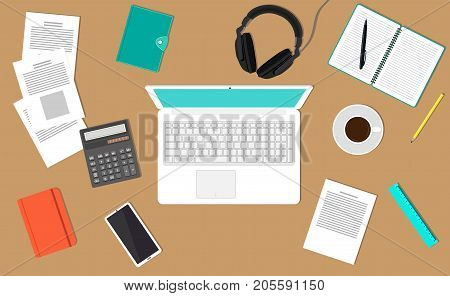 Desk Top View. The Modern Workplace Office Worker, Freelancer, Businessman, Analyst. Laptop, Documen