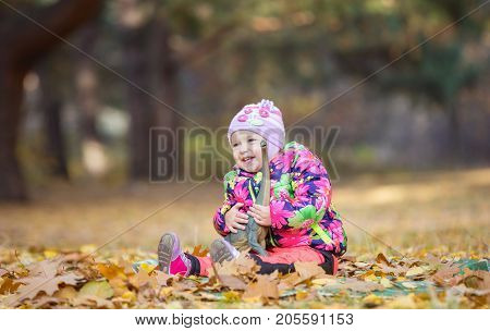 Happy little girl playing with toy dinosaur in autumn park