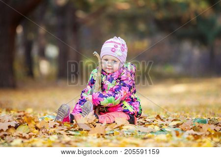 Little girl playing with toy dinosaur in autumn park