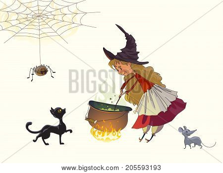 Cute little girl a witch cooks a potion in a cauldron. Nearby a black cat a gray mouse and a spider. Illustration for Halloween. Vector drawing isolated on white