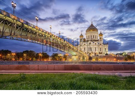 Cathedral of Christ the Savior and Patriarchal Bridge in the evening