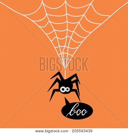 Cute Spider on web orange background. Background of spider on web for the Halloween party. Spider say boo
