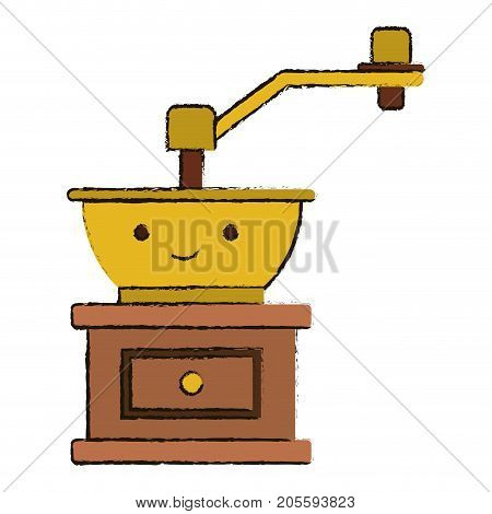 coffee grinding with crank in front view colorful kawaii blurred silhouette vector illustration