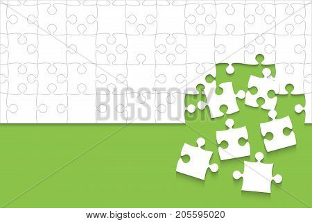 Some White Puzzles Pieces in Green Background - Vector Illustration. Scattered Jigsaw Puzzle Blank Template. Vector Background.