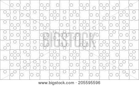 112 White Puzzles Pieces Arranged in a Square - Vector Illustration. Jigsaw Puzzle Blank Template or Cutting Guidelines. Vector Background.