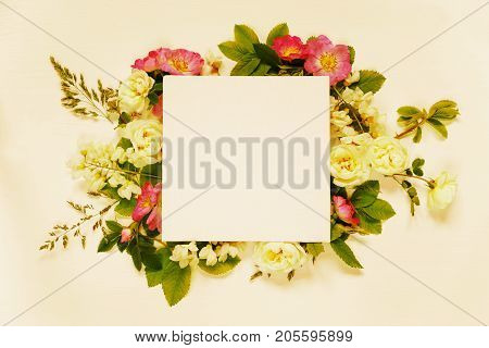 Scrapbook page of wedding or family photo album frame with wild rose white flowers and green leaves on light wooden background; top view flat lay overhead view toned image