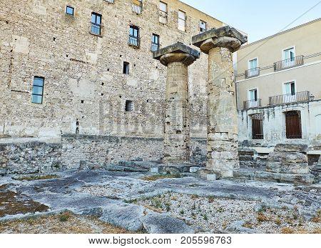 Doric Columns Of The Temple Of Poseidon At Taranto. Apulia, Italy