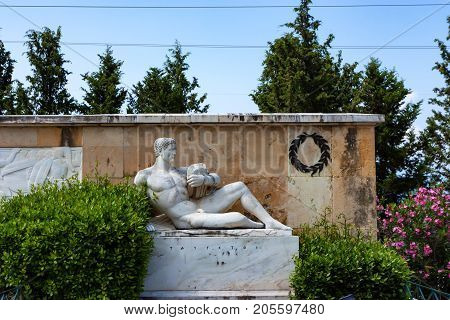THERMOPYLAE, GREECE - JUNE, 2011: Beautiful anthropomorphic statue of Taygetus mountains