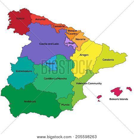 Detailes vector map or Spain regions. Vector illustration