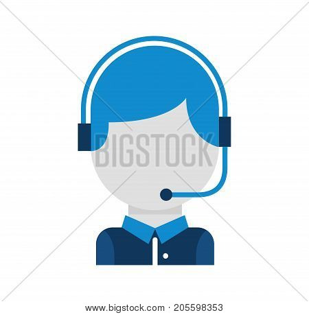 call center operator with phone headset vector illustration