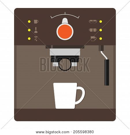 Brown Coffee Machine With A White Cup. Detailed Image Of Coffee Makers For Home, Office, Restaurant,