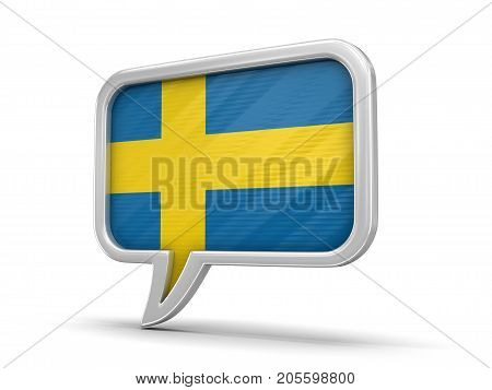 3d Illustration. Speech bubble with Swedish flag. Image with clipping path