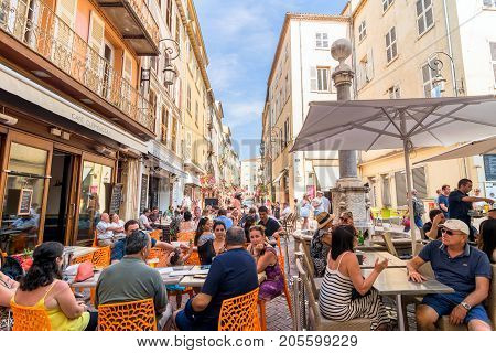 Antibes France - July 01 2016: day view of typical street in Antibes France. Antibes is a popular seaside town in the heart of the Cote d'Azur.