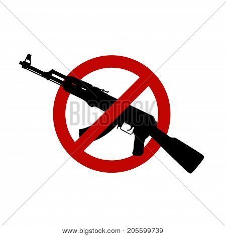 illustration of silhouette assault rifle in red circle sign isolated on white background