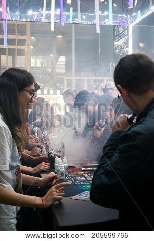 PARIS FRANCE - SEPTEMBER 25 2017 : Paris Grande Halle de la Villette VAPEXPO international exhibition of electronic cigarette and vapology.