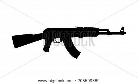 illustration of black silhouette of russian assault rifle isolated on white background