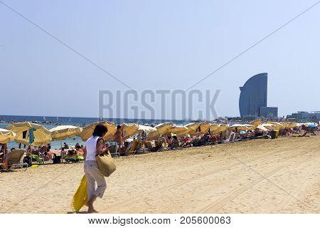 BARCELONA SPAIN - AUGUST 02 2012: W Barcelona is an amazing 5 star luxury hotel La Barceloneta Beach in Barcelona Spain.
