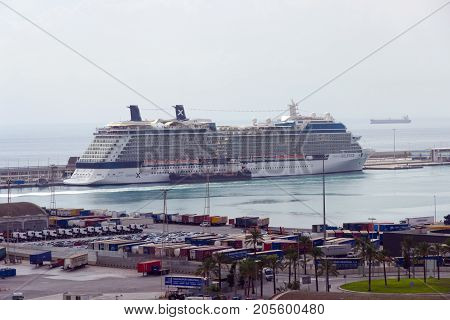 Cruise Ship Barcelona Harbor, Spain.
