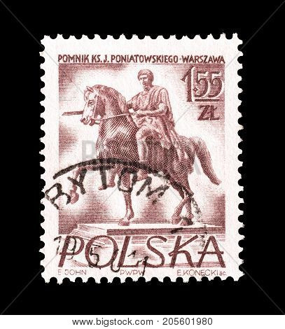 POLAND - CIRCA 1956 : Cancelled postage stamp printed by Poland, that shows Statue of Prince Jozef Poniatowski.