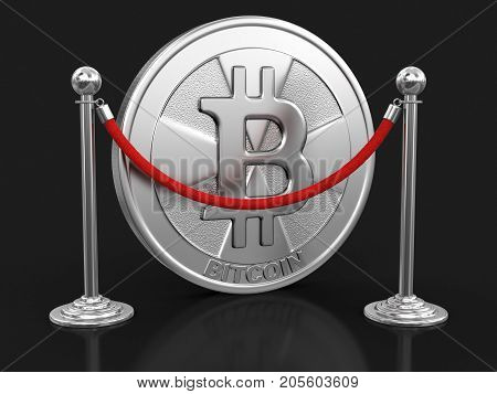 3d Illustration. Golden bitcoin  and chrome stanchions with rope. Image with clipping path