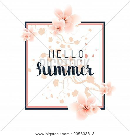 Abstract Summer Floral Design Frame With Text