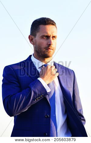 Businessman With Beard And Confident Face. Man In Formal Suit
