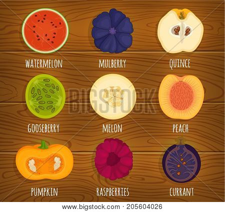 Vector icons of sliced fruits. Various fruits in a cut on a wooden surface. Illustration.