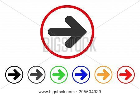 Arrow Right icon. Vector illustration style is a flat iconic arrow right gray rounded symbol inside red circle with black, gray, green, blue, red, orange color additional versions.
